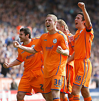 Photo: Steve Bond/Richard Lane Photography. <br />Leicester City v Sheffield Wednesday. Coca-Cola Championship. 26/04/2008. Steve Watson (obscured) is congratulated after putting Wednesday in front