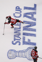 May 30; Newark, NJ, USA; New Jersey Devils left wing Zach Parise (9) during warmups before game 1 of the 2012 Stanley Cup Finals at the Prudential Center.  The Kings defeated the Devils 2-1.