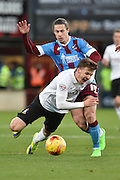 Bradford City midfielder, on loan from Wolverhampton Wanderers, Lee Evans  and Tommy Rowe of Scunthorpe United during the Sky Bet League 1 match between Scunthorpe United and Bradford City at Glanford Park, Scunthorpe, England on 21 November 2015. Photo by Ian Lyall.