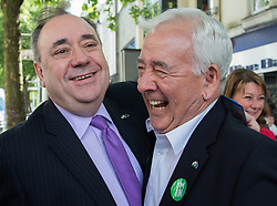 © Licensed to London News Pictures. 16/06/2016. Cardiff, Wales, UK. Former Scottish First Minister Alex Salmond MP with former leader of Plaid Cymru Dafydd Wigley (right). Photo credit: Tracey Paddison/LNP