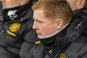 Celtic Manager Neil Lennon takes his seat in the dugout  during the Europa League match between Celtic and FC Copenhagen at Celtic Park, Glasgow, Scotland on 27 February 2020.