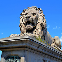 Lion at Chain Bridge in Budapest, Hungary <br /> János Marschalkó was commissioned to create lions for the Chain Bridge. They were added to both sides of the river in 1852, about three years after the bridge was finished. Their presence implied protection of this critical transportation link between Buda and Pest. However, they could not guard against the Germans. The retreating Nazis blew up the bridge in 1945 during the waning days of World War II. The current Széchenyi Iánchid (Chain Bridge) was reconstructed within four years. Yet these are the original lion sculptures.