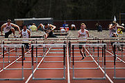 AMHERST, MA - MAY 3: From left, Zachary Blum of the University of Massachusetts Amherst, Jared Horne of Duquesne University, Chase Turner of Virginia Commonwealth University, Zachary Grube of the University of Massachusetts Amherst competes in the men's 110 meter high hurdles during Day 1 of the Atlantic 10 Outdoor Track and Field Championships at the University of Massachusetts Amherst Track and Field Complex on May 3, 2014 in Amherst, Massachusetts. (Photo by Daniel Petty/Atlantic 10)