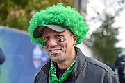 A Philadelphia Eagles fan wears his Green wig during the International Series match between Jacksonville Jaguars and Philadelphia Eagles at Wembley Stadium, London, England on 28 October 2018.