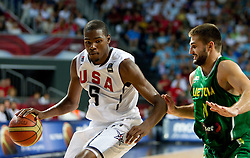 Kevin Durant  of USA vs Linas Kleiza of Lithuania during the first semifinal basketball match between National teams of USA and Lithuania at 2010 FIBA World Championships on September 11, 2010 at the Sinan Erdem Dome in Istanbul, Turkey.   (Photo By Vid Ponikvar / Sportida.com)