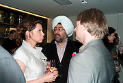 Tena Stivicic; Hardeep Singh Kohli; DOUGLAS HENSHALL, The French Laundry reception to celebrate the October opening of the 10-day pop-up ' French laundry restaurant in Harrods. The Penthouse, Harrods. London. 31 August 2011.<br /> <br />  , -DO NOT ARCHIVE-&copy; Copyright Photograph by Dafydd Jones. 248 Clapham Rd. London SW9 0PZ. Tel 0207 820 0771. www.dafjones.com.