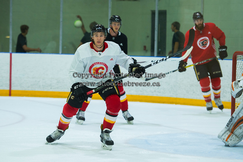 PENTICTON, CANADA - SEPTEMBER 9: Mark Jankowski #77 of Calgary Flames skates ice during morning skate on September 9, 2017 at the South Okanagan Event Centre in Penticton, British Columbia, Canada.  (Photo by Marissa Baecker/Shoot the Breeze)  *** Local Caption ***