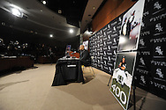 CHICAGO - FEBRUARY 12:  Former Chicago White Sox first baseman and designated hitter Frank Thomas #35 addresses the media to announce his retirement from Major League baseball on February 12, 2010 at U.S. Cellular Field in Chicago, Illinois.  Thomas played 16 years for the White Sox, from 1990 to 2005 (Photo by Ron Vesely)