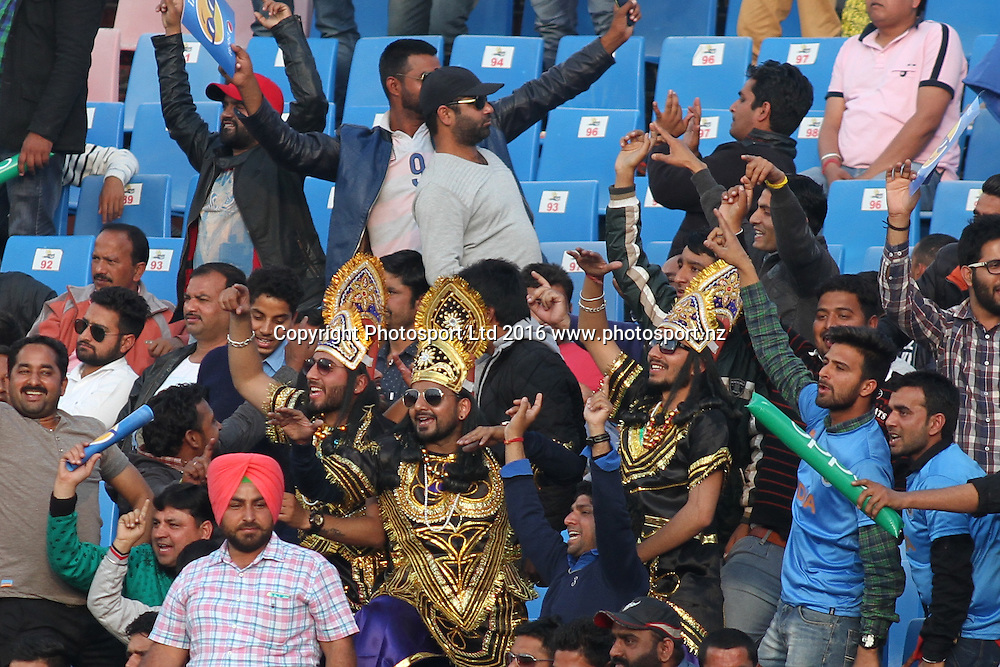 Fans celebrate during the World T20, 17th Match, Super 10 Group 2: Australia v New Zealand at Dharamsala, Mar 18, 2016, Copyright photo: www.photosport.nz