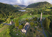 "Glendalough or ""the valley of the two lakes"" is the site of an early Christian monastic settlement nestled in the Wicklow mountains of County Wicklow, Ireland."