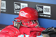 LOS ANGELES, CA - MAY 28:  Cincinnati Reds catcher gear lies ready in the dugout before the game against the Los Angeles Dodgers at Dodger Stadium on Wednesday, May 28, 2014 in Los Angeles, California. The Reds won the game 3-2. (Photo by Paul Spinelli/MLB Photos via Getty Images)