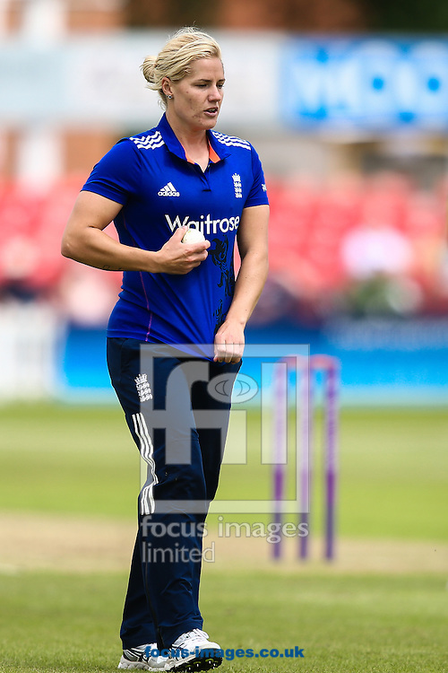 Katherine Brunt of England during the Royal London One Day Series match at Fischer County Ground, Leicester<br /> Picture by Andy Kearns/Focus Images Ltd 0781 864 4264<br /> 21/06/2016
