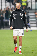 Juventus Forward Cristiano Ronaldo warm up during the Champions League Group H match between Juventus FC and Manchester United at the Allianz Stadium, Turin, Italy on 7 November 2018.