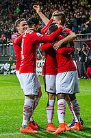 ALKMAAR - 20-02-2016, AZ - FC Groningen, AFAS Stadion, 4-1, AZ speler Ridgeciano Haps heeft de 3-0 gescoord, \17\, AZ speler Alireza Jahanbakhsh, AZ speler Markus Henriksen
