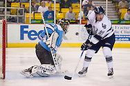 18 February, 2006 - Anchorage, AK:  Ace's goalie Matt Underhill with the puck almost in his face after having the pass deflected into a shot by IceDog center Mac Faulkner in the Long Beach IceDogs victory over the Alaska Aces 4-1 at the Sullivan Arena.