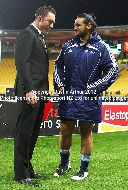 Hurricanes' Head coach Mark Hammett and Blues' Piri Weepu during the 2012 Super Rugby season, Hurricanes v Blues at Westpac Stadium, Wellington, New Zealand on Friday 4 May 2012. Photo: Justin Arthur / photosport.co.nz