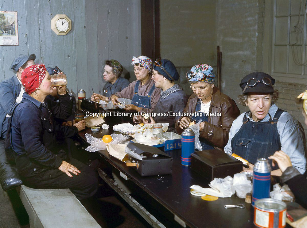 """Fascinating Color Portrait Photos of Women Railroad Workers During WWII<br /> <br /> World War II began when Hitler's army invaded Poland on September 1, 1939. However, it wasn't until the day after the Japanese attacked Pearl Harbor on December 7, 1941, that the United States declared war on the Axis Powers.<br /> <br /> The railroads immediately were called upon to transport troops and equipment heading overseas. Soon the efforts increased to supporting war efforts on two fronts-- in Europe and in the Pacific.<br /> <br /> Prior to the 1940s, the few women employed by the railroads were either advertising models, or were responsible primarily for cleaning and clerical work. Thanks to the war, the number of female railroad employees rose rapidly. By 1945, some 116,000 women were working on railroads. A report that appeared on the 1943 pages of Click Magazine regarding the large number of American women who had stepped forward to see to it that the American railroads continued to deliver the goods during the Second World War:<br /> <br />     """"Nearly 100,000 women, from messengers aged 16 to seasoned railroaders of 55 to 65, are keeping America's wartime trains rolling. So well do they handle their jobs that the railroad companies, once opposed to hiring any women, are adding others as fast as they can get them...""""<br /> <br /> In April 1943, Office of War Information photographer Jack Delano photographed the women of the Chicago & North Western Railroad roundhouse in Clinton, Iowa, as they kept the hulking engines cleaned, lubricated and ready to support the war effort.<br /> <br /> Photo shows:Roundhouse workers on their lunch break.<br /> ©Library of Congress/Exclusivepix Media"""