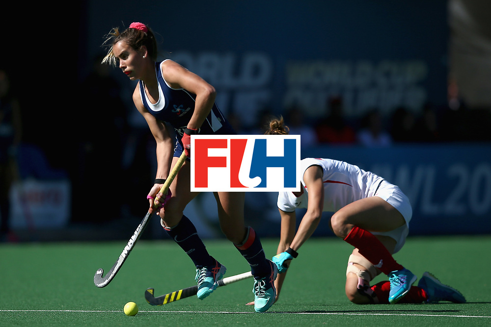 JOHANNESBURG, SOUTH AFRICA - JULY 20: Josefa Villalabeitia of Chile and Natalia Wisniewska of Poland battle for possession during the 9th/10th Place playoff match between Poland and Chile during Day 7 of the FIH Hockey World League - Women's Semi Finals on July 20, 2017 in Johannesburg, South Africa.  (Photo by Jan Kruger/Getty Images for FIH)