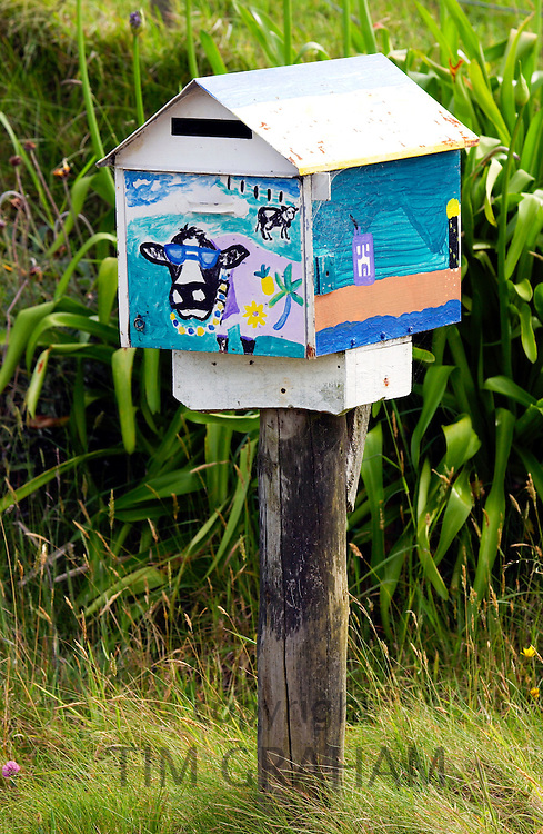 Painted mailbox, North Island, New Zealand