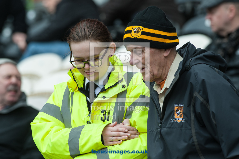 A Hull City fan is helped to his seat prior to the Sky Bet Championship match between Hull City and Queens Park Rangers at the KCOM Stadium, Hull<br /> Picture by Matt Wilkinson/Focus Images Ltd 07814 960751<br /> 07/04/2018