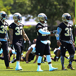 May 28, 2015; New Orleans, LA, USA; New Orleans Saints cornerback Brandon Browner (39) and strong safety Kenny Vaccaro (32) and free safety Rafael Bush (25) and free safety Jairus Byrd (31) during organized team activities at the New Orleans Saints Training Facility. Mandatory Credit: Derick E. Hingle-USA TODAY Sports