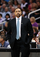 Apr 5, 2013; Phoenix, AZ, USA; Golden State Warriors head coach Mark Jackson stands on the sidelines in the the game against the Phoenix Suns at US Airways Center. The Warriors defeated the Suns 111-107. Mandatory Credit: Jennifer Stewart-USA TODAY Sports