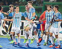 RAIPUR (India) .  Gonzalo Peillat (Arg) scored 3-1 and celebrates it with his team  fltr  Diego Ignacio Paz (Arg), Lucas Rossi (Arg), Gonzalo Peillat (Arg) , Juan Lopez (Arg) and Ignacio ,  during the match in de Hockey Wold League Final round men . Argentina v Germany (3-1).  WSP / COPYRIGHT KOEN SUYK