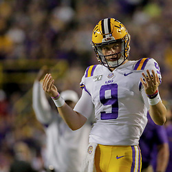 Oct 12, 2019; Baton Rouge, LA, USA; LSU Tigers quarterback Joe Burrow (9) reacts after a touchdown against the Florida Gators during the first quarter at Tiger Stadium. Mandatory Credit: Derick E. Hingle-USA TODAY Sports