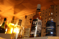 Cocktails at Le Syndicat, a new cocktail bar that serves drinks using only French products<br /> <br /> Paris 10th arrondissement<br /> <br /> The display of only French products used in the drinks - here, French Whiskeys <br /> <br /> <br /> April 23, 2015<br />   <br /> Photograph by Owen Franken for the NY Times