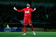 Ipswich Town striker Freddie Sears (20) scores a goal 2-0 and Ipswich Town goalkeeper Bartosz Bialkowski (33) celebrates during the EFL Sky Bet Championship match between Burton Albion and Ipswich Town at the Pirelli Stadium, Burton upon Trent, England on 14 April 2017. Photo by Richard Holmes.