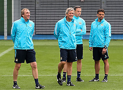 Manchester City Manager, Manuel Pellegrini and his staff during the training session at the Etihad Stadium ahead of the UEFA Champions League group D match against Juventus - Mandatory byline: Matt McNulty/JMP - 07966386802 - 14/09/2015 - FOOTBALL - Etihad Stadium -Manchester,England - UEFA Champions League