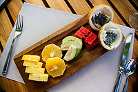 Fruit plate at breakfast, Arenas del Mar, Manuel Antonio, Costa Rica.