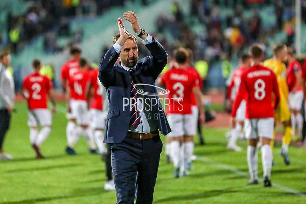 England Head Coach Gareth Southgate thanks fans at full time during the UEFA European 2020 Qualifier match between Bulgaria and England at Stadion Vasil Levski, Sofia, Bulgaria on 14 October 2019.