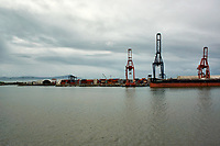 """(Image three of eight). Panorama of the Ensenada harbor in Mexico on a grey and raining day from the deck of the MV World Odyssey. The other cruse ship is the Carnival Imagination. Once all of the students, faculty, staff, and life long learners were aboard we would be ready to begin the 102 day """"round the world"""" Semester at Sea Spring 2016 Voyage. Composite of eight images taken with a Nikon N1 V3 camera and 10-30 mm lens (ISO 200, 10 mm, f/11, 1/250 sec). Panorama stitched using AutoPano Giga Pro."""