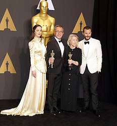 Sandy Reynolds-Wasco, David Wasco, Jamie Dornan and Dakota Johnson at the 89th Annual Academy Awards - Press Room held at the Hollywood and Highland Center in Hollywood, USA on February 26, 2017.