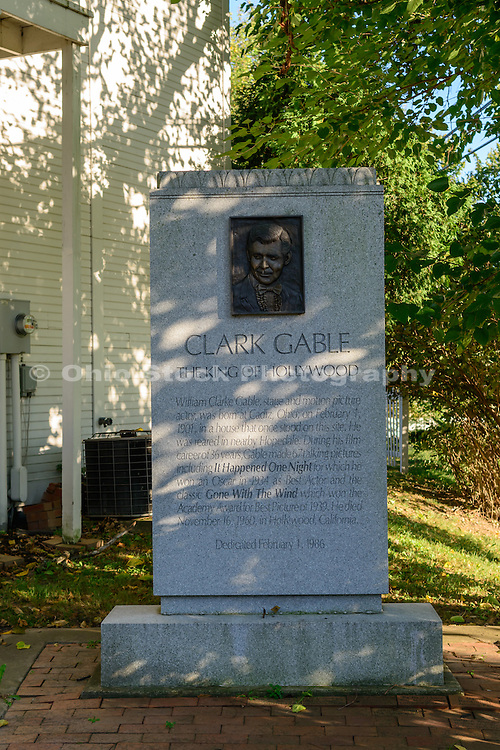 Photo of a sign at the Clark Gable Birthplace in Cadiz, Ohio.