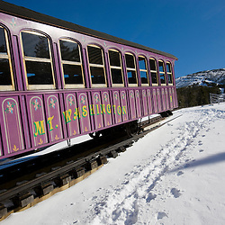 The Cog Railway in winter on Mount Washington in New Hampshire's White Mountains.