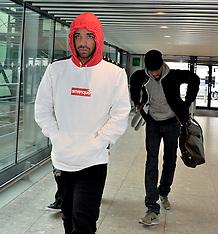 MAR 28 2014 Drake departs Heathrow Airport