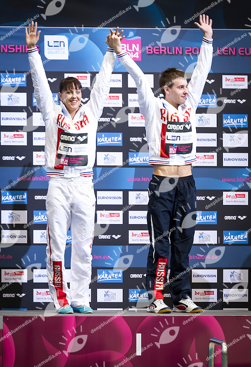 Podium<br /> RUS Russia<br /> MINIBAEV Victor<br /> BAZHINA Nadezhda<br /> Gold Medal<br /> Diving Team Event Final<br /> 32nd LEN European Championships <br /> Berlin, Germany 2014  Aug.13 th - Aug. 24 th<br /> Day06 - Aug. 18<br /> Photo P. Mesiano/Deepbluemedia/Inside