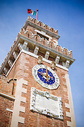 The clocktower at the Arsenal, Venice, Veneto, Italy