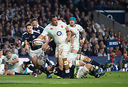 Twickenham, United Kingdom.  Mako VUNIPOLA, prepare to release the ball after driving thought the Scot's defence, during the Six Nations International Rugby, Calcutta Cup Game, England vs Scotland, RFU Stadium, Twickenham, England, <br /> <br /> Saturday  11/03/2017<br /> <br /> [Mandatory Credit; Peter Spurrier/Intersport-images]