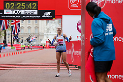 © Licensed to London News Pictures. 28/04/2019. London, UK.  Britain's Charlotte Purdue at the finish line of the women's London Marathon 2019 race. Photo credit: Dinendra Haria/LNP