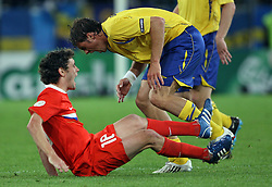 Yuri Zhirkov of Russia (18) and Johan Elmander of Sweden (11) during the UEFA EURO 2008 Group D soccer match between Sweden and Russia at Stadion Tivoli NEU, on June 18,2008, in Innsbruck, Austria. Russia won 2:0. (Photo by Vid Ponikvar / Sportal Images)