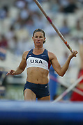 Stacy Dragila of the United States tied for seventh in her group in the women's pole vault qualifying at 14-1 1/4 (4.30m) in the 2004 Olympics in Athens, Greece on Saturday, August 21, 2004.