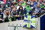 Seattle Seahawks fans during the International Series match between Oakland Raiders and Seattle Seahawks at Wembley Stadium, London, England on 14 October 2018.