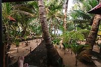 Front yard of bungalow Crusoe at Little Corn Beach & Bungalow, on east coast of Little corn Island, Nicaragua. Copyright 2017 Reid McNally.
