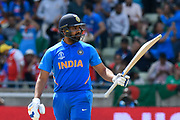 50 - Rohit Sharma of India celebrates scoring a half century during the ICC Cricket World Cup 2019 match between Bangladesh and India at Edgbaston, Birmingham, United Kingdom on 2 July 2019.