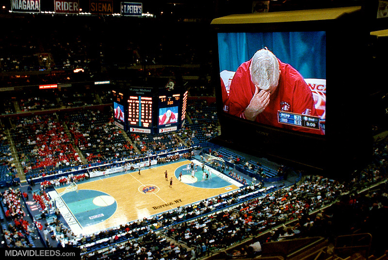 17 Mar 2000: During the final minutes of what would be the final game of his legendary career at Indiana, a general view of a press box TV showing Head Coach Bobby Knight of the Indiana Hoosiers dropping his head in the final minutes of the first round NCAA Tournament Game against the Pepperdine Wave at the HSBC Arena in Buffalo, New York. The Wave defeated the Hoosiers 77-57. It would be the last game in Knight's legendary career at Indiana, he was fired by the University a few weeks later. Mandatory Credit: M David Leeds