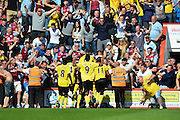 Aston Villa players and fans celebrate during the Barclays Premier League match between Bournemouth and Aston Villa at the Goldsands Stadium, Bournemouth, England on 8 August 2015. Photo by Mark Davies.