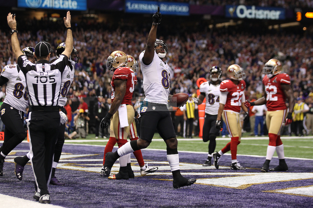Anquan Boldin (81) of the Baltimore Ravens catches a touchdown against the San Francisco 49ers during the NFL Super Bowl XLVII football game in New Orleans on Feb. 3, 2013. The Ravens won the game, 34-31.  (Photo by Jed Jacobsohn)